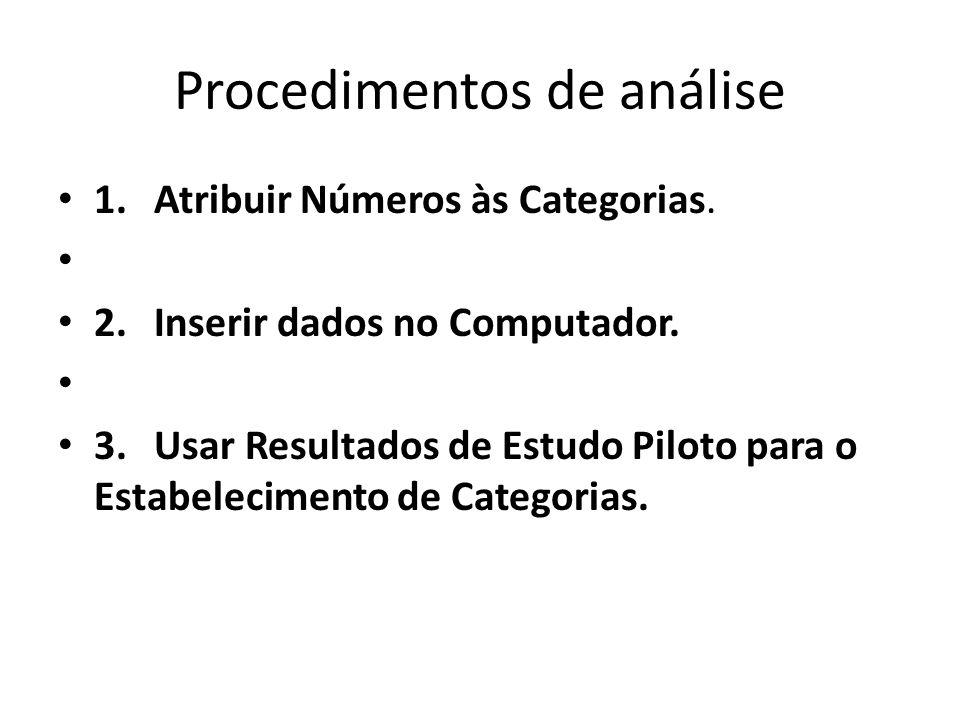 Procedimentos de análise