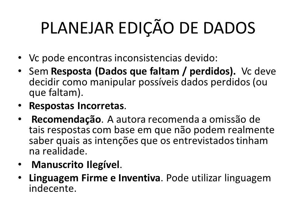 PLANEJAR EDIÇÃO DE DADOS