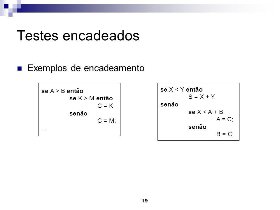 Testes encadeados Exemplos de encadeamento se A > B então