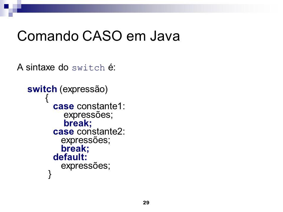 Comando CASO em Java A sintaxe do switch é: switch (expressão) {