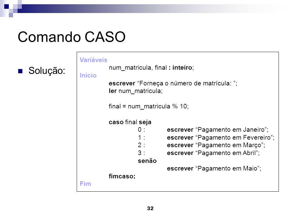 Comando CASO Solução: Variáveis num_matricula, final : inteiro; Início