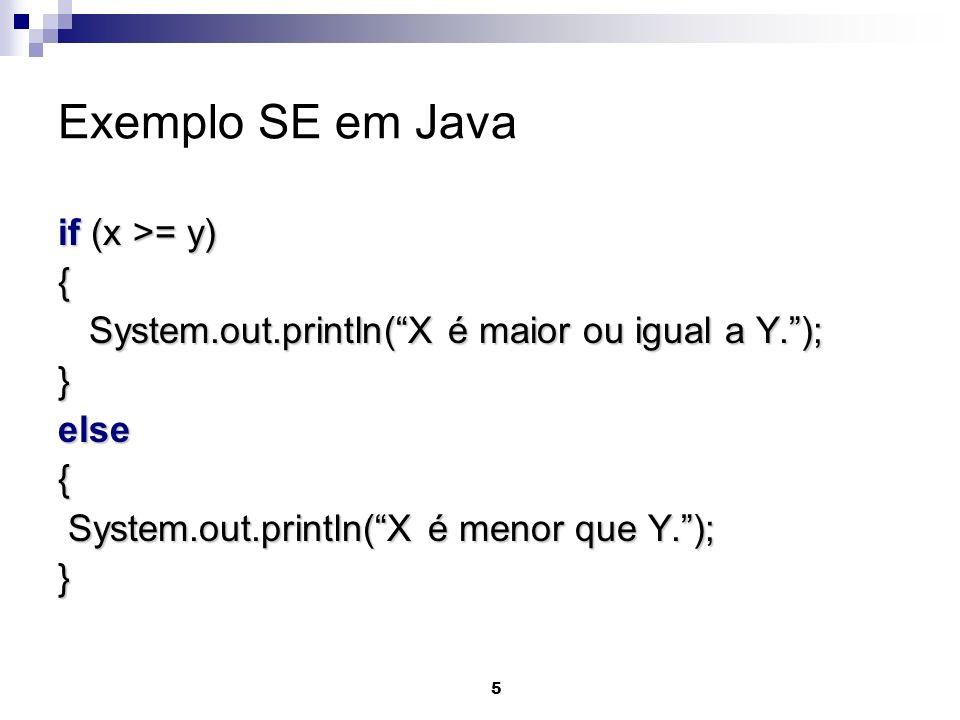 Exemplo SE em Java if (x >= y) {
