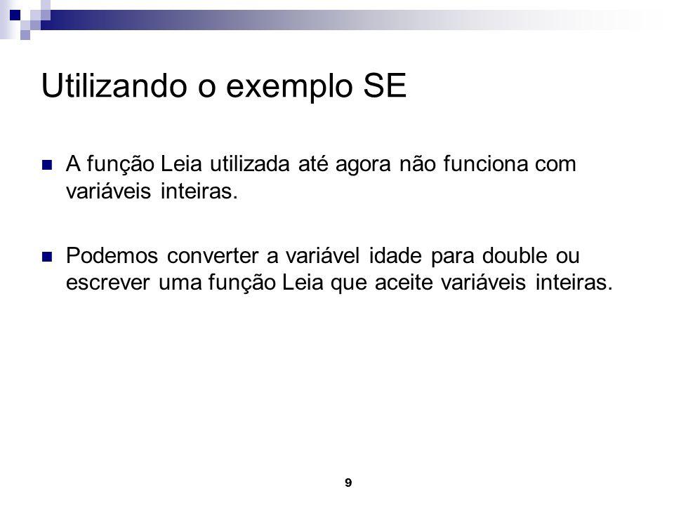 Utilizando o exemplo SE