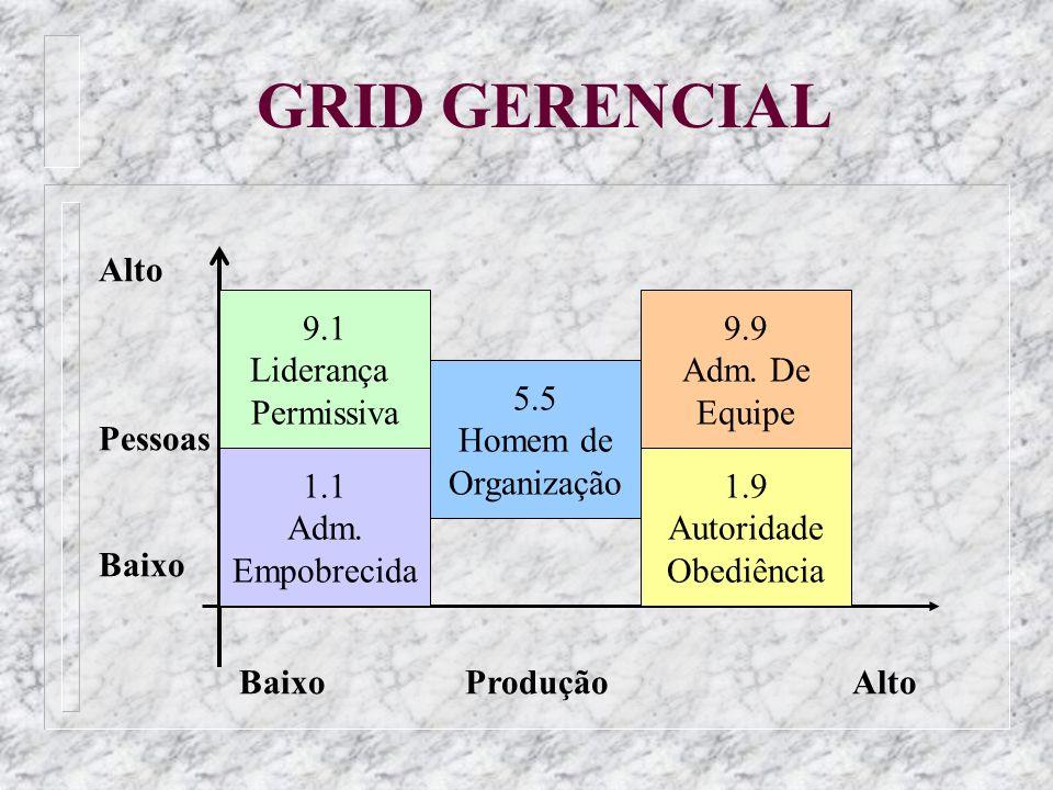 GRID GERENCIAL Alto Pessoas Baixo 9.1 Liderança Permissiva 9.9 Adm. De