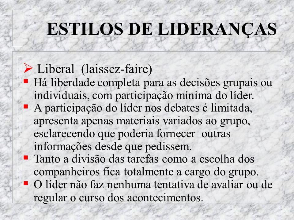 ESTILOS DE LIDERANÇAS Liberal (laissez-faire)