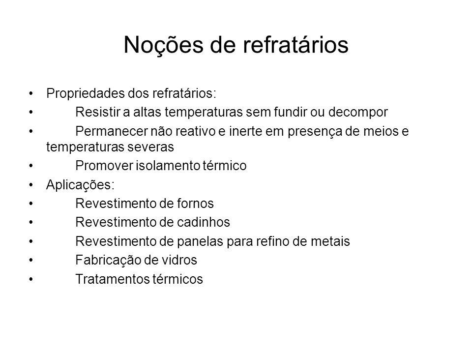 Noções de refratários Propriedades dos refratários: