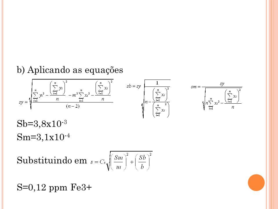 b) Aplicando as equações Sb=3,8x10-3 Sm=3,1x10-4 Substituindo em S=0,12 ppm Fe3+