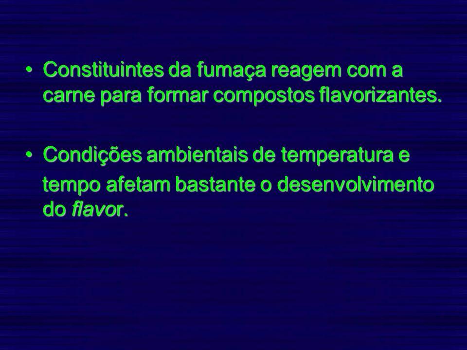 Constituintes da fumaça reagem com a carne para formar compostos flavorizantes.