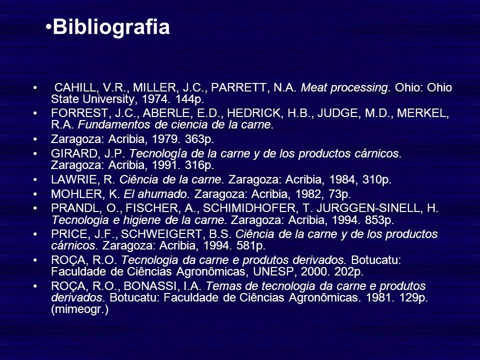 BibliografiaCAHILL, V.R., MILLER, J.C., PARRETT, N.A. Meat processing. Ohio: Ohio State University, 1974. 144p.