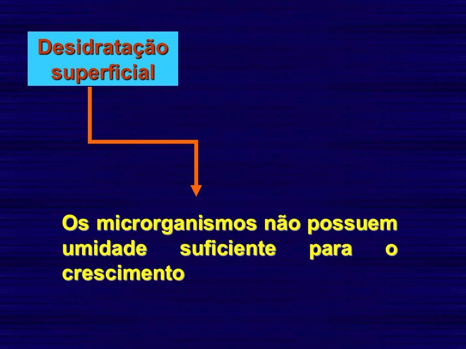 Desidratação superficial Os microrganismos não possuem umidade suficiente para o crescimento