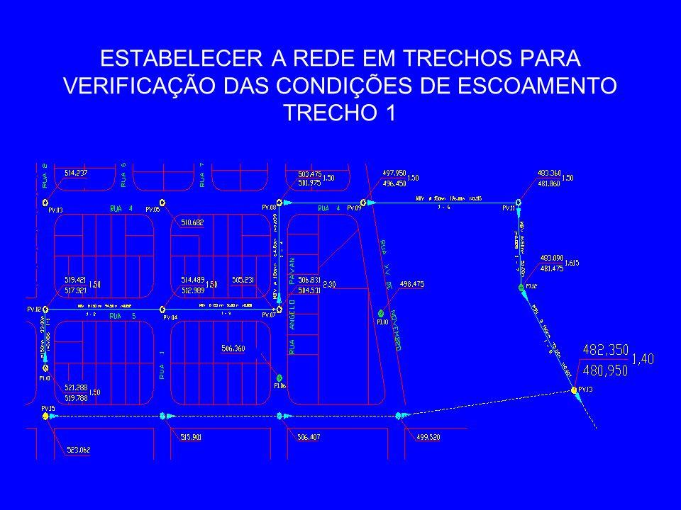 ESTABELECER A REDE EM TRECHOS PARA VERIFICAÇÃO DAS CONDIÇÕES DE ESCOAMENTO TRECHO 1