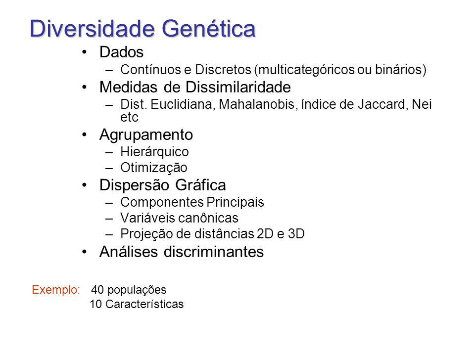 Diversidade Genética Dados Medidas de Dissimilaridade Agrupamento