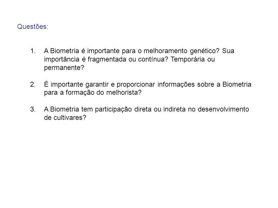 Questões: A Biometria é importante para o melhoramento genético Sua importância é fragmentada ou contínua Temporária ou permanente
