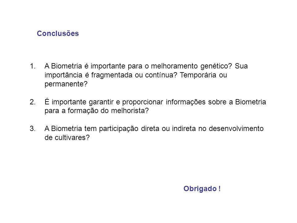 Conclusões A Biometria é importante para o melhoramento genético Sua importância é fragmentada ou contínua Temporária ou permanente