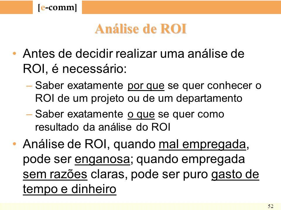 Análise de ROI Antes de decidir realizar uma análise de ROI, é necessário:
