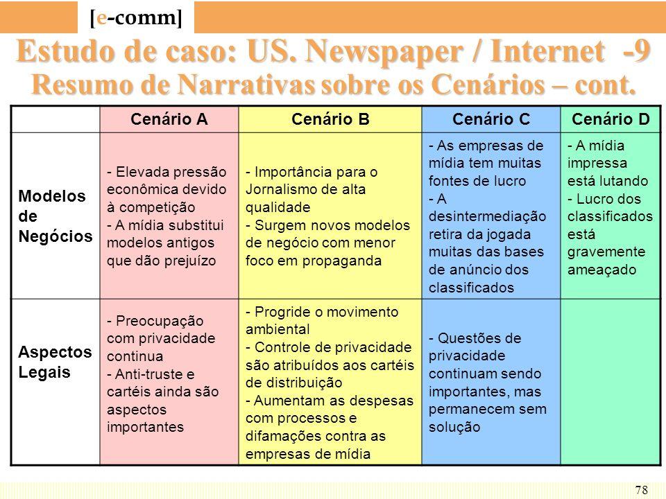 Estudo de caso: US. Newspaper / Internet -9 Resumo de Narrativas sobre os Cenários – cont.