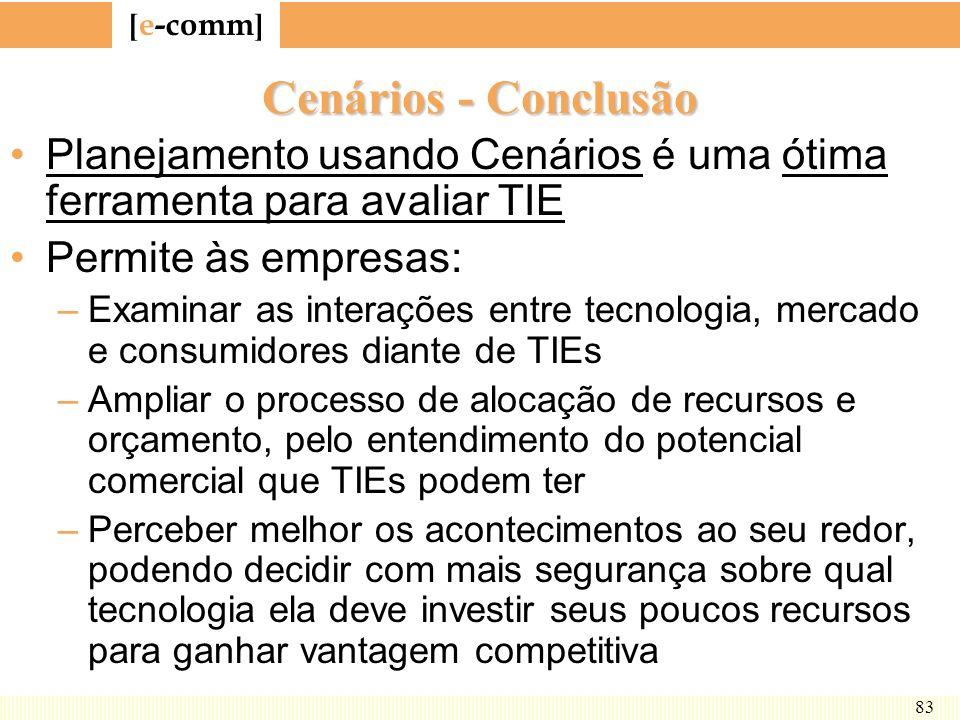 Cenários - Conclusão Planejamento usando Cenários é uma ótima ferramenta para avaliar TIE. Permite às empresas: