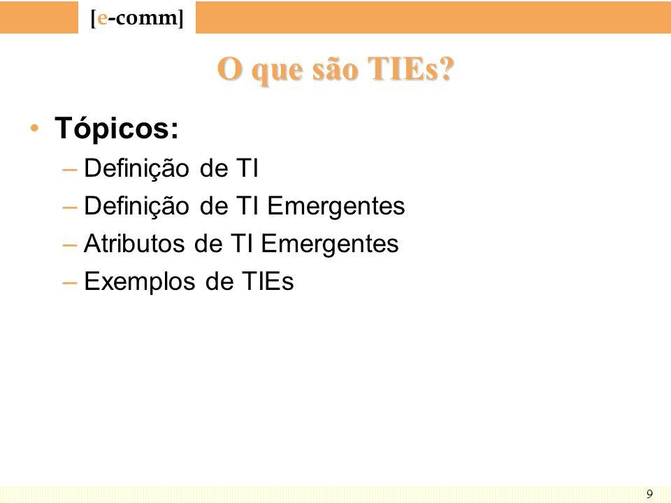 O que são TIEs Tópicos: Definição de TI Definição de TI Emergentes