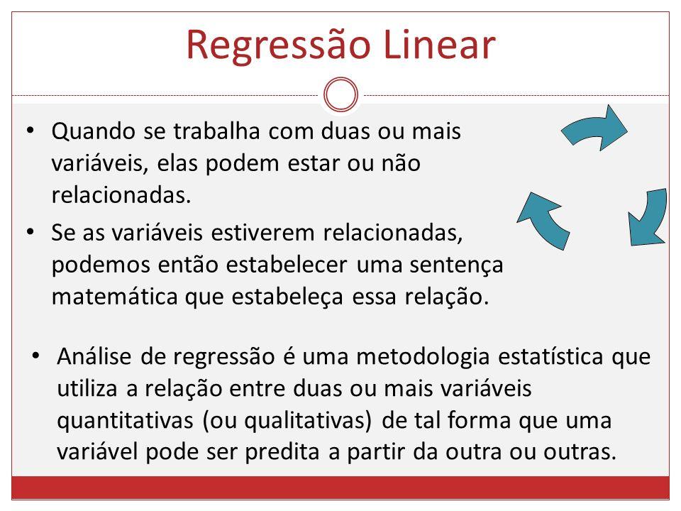 Regressão Linear Quando se trabalha com duas ou mais variáveis, elas podem estar ou não relacionadas.