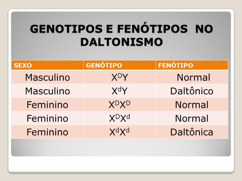 GENOTIPOS E FENÓTIPOS NO DALTONISMO