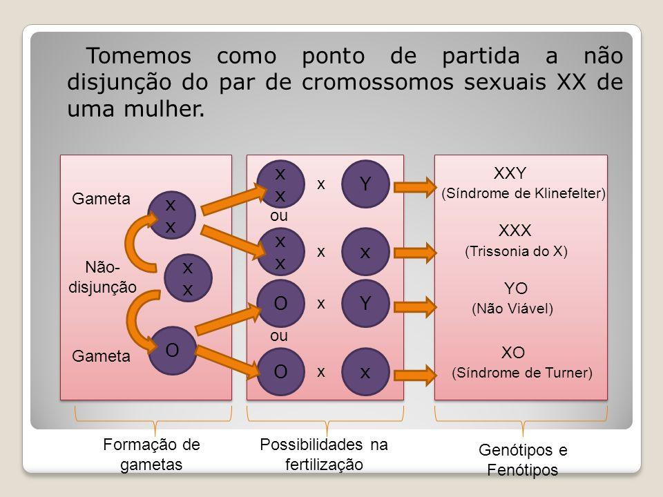 Tomemos como ponto de partida a não disjunção do par de cromossomos sexuais XX de uma mulher.