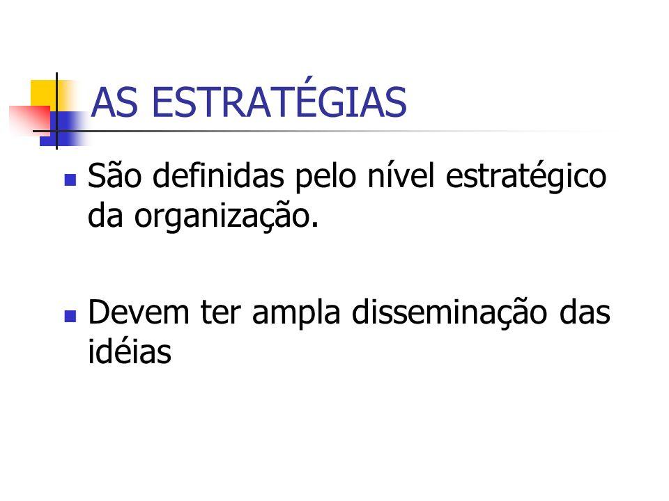 AS ESTRATÉGIAS São definidas pelo nível estratégico da organização.