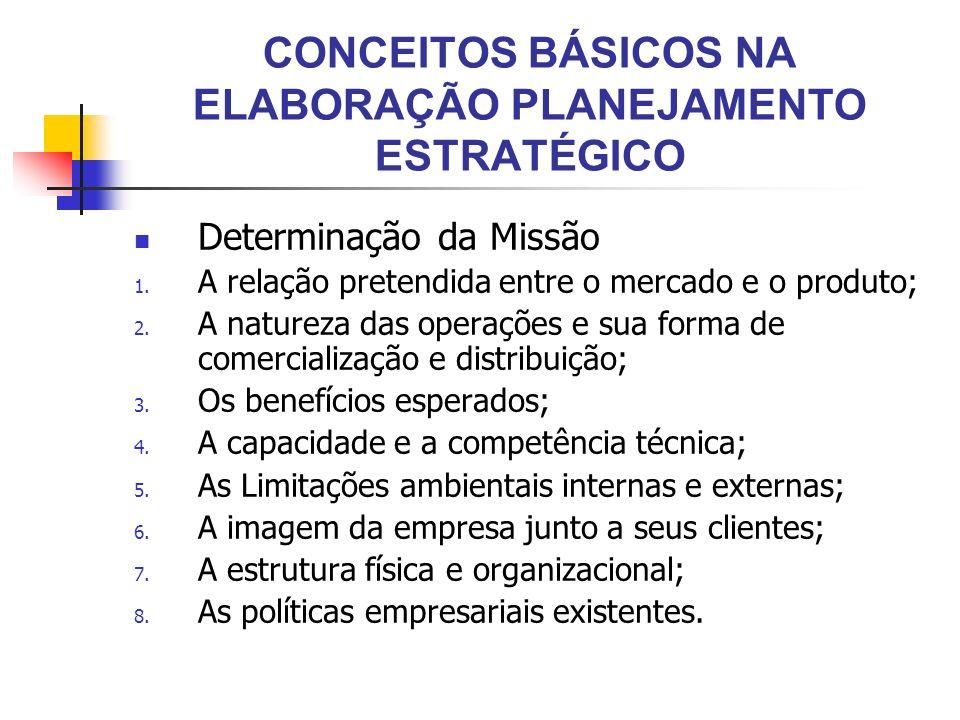 CONCEITOS BÁSICOS NA ELABORAÇÃO PLANEJAMENTO ESTRATÉGICO