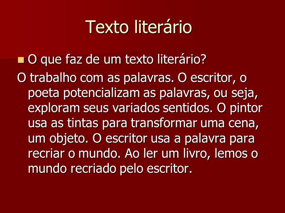 Texto literário O que faz de um texto literário