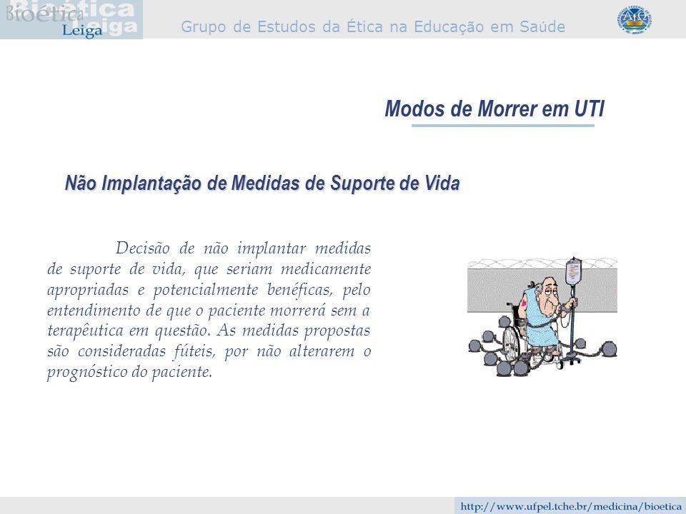 Modos de Morrer em UTI Não Implantação de Medidas de Suporte de Vida