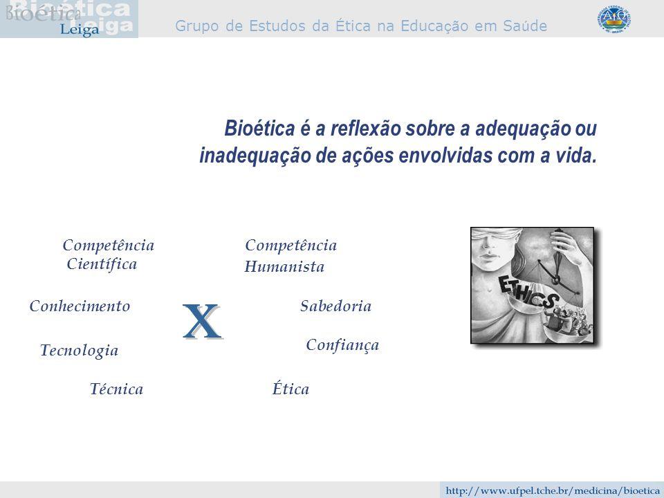 Bioética é a reflexão sobre a adequação ou inadequação de ações envolvidas com a vida.