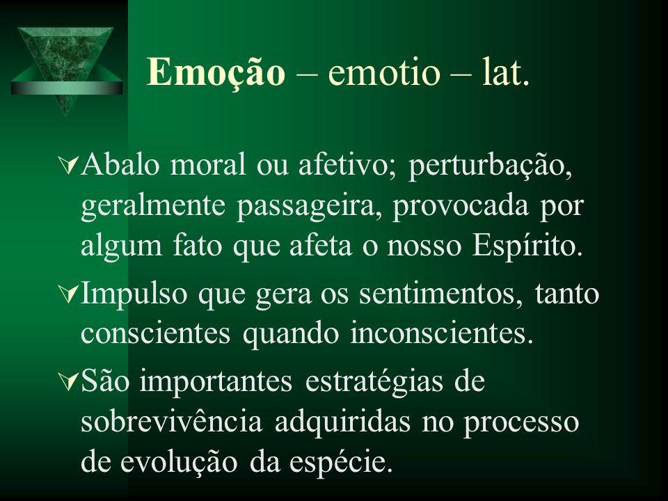 Emoção – emotio – lat. Abalo moral ou afetivo; perturbação, geralmente passageira, provocada por algum fato que afeta o nosso Espírito.