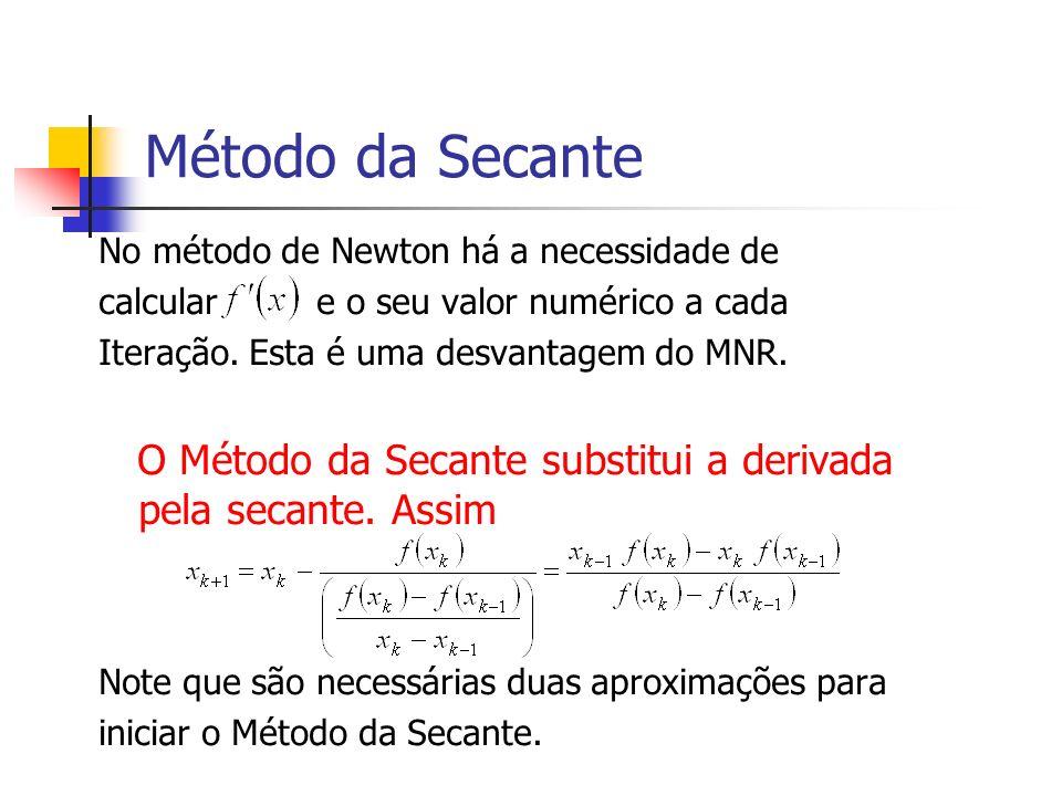 Método da Secante No método de Newton há a necessidade de. calcular e o seu valor numérico a cada.