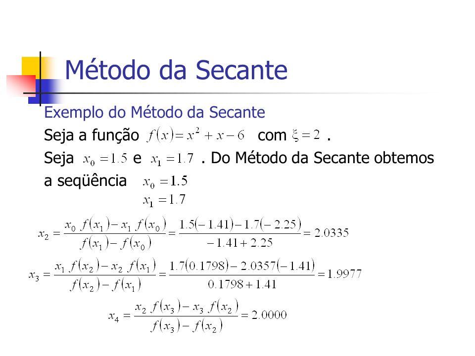 Método da Secante Exemplo do Método da Secante Seja a função com .