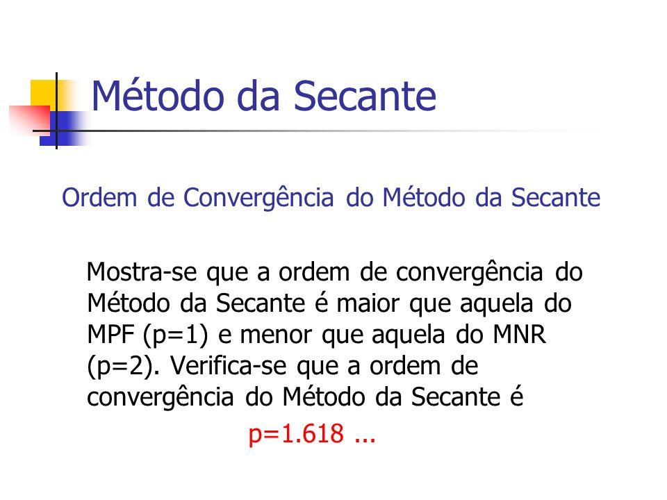 Método da Secante Ordem de Convergência do Método da Secante