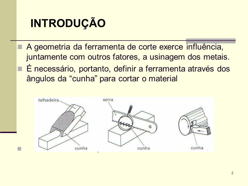 INTRODUÇÃOA geometria da ferramenta de corte exerce influência, juntamente com outros fatores, a usinagem dos metais.