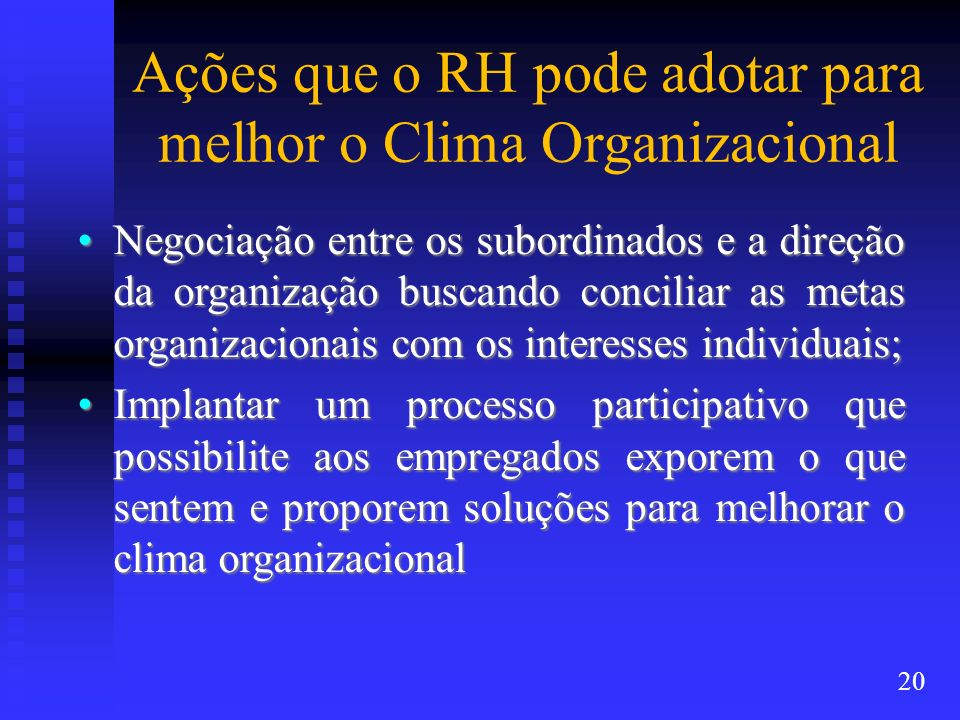 Ações que o RH pode adotar para melhor o Clima Organizacional