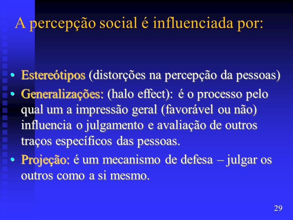 A percepção social é influenciada por: