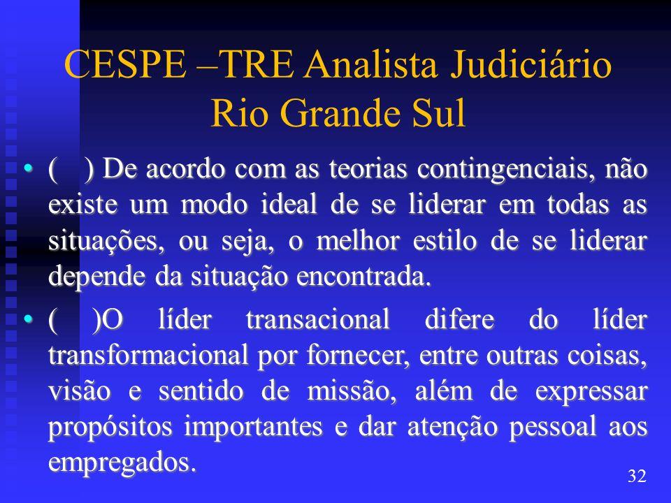 CESPE –TRE Analista Judiciário Rio Grande Sul