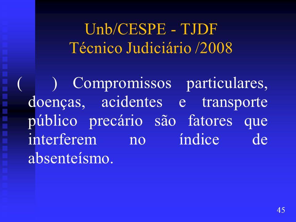Unb/CESPE - TJDF Técnico Judiciário /2008