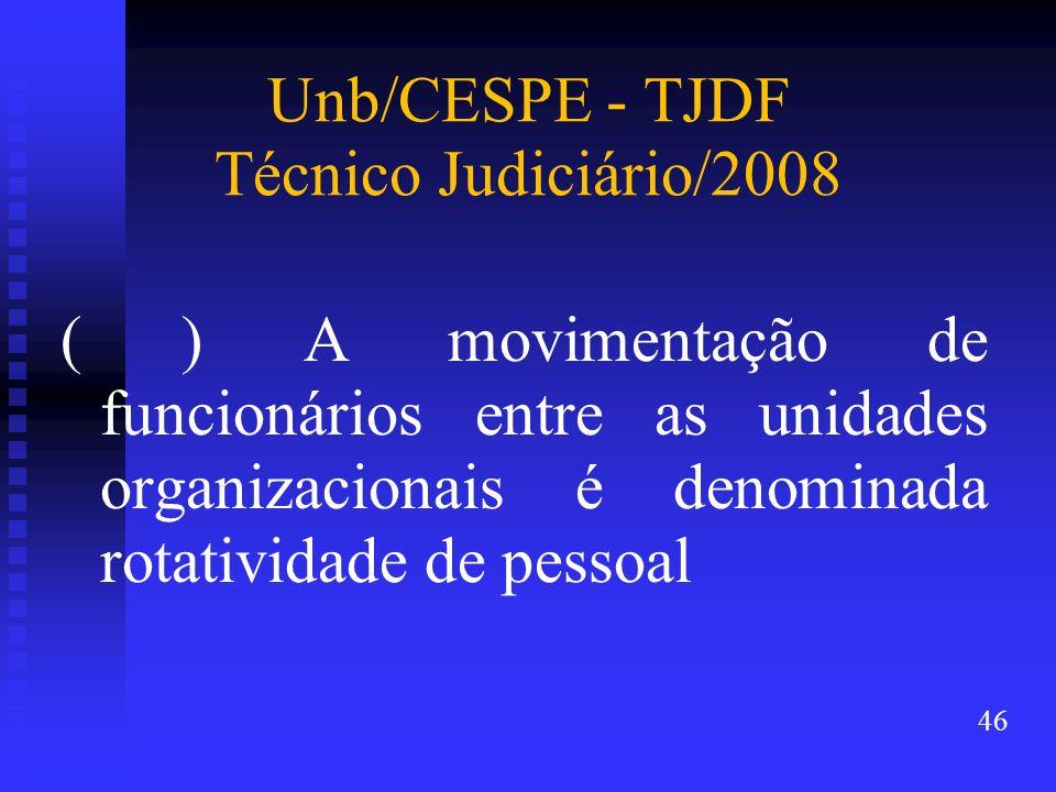 Unb/CESPE - TJDF Técnico Judiciário/2008