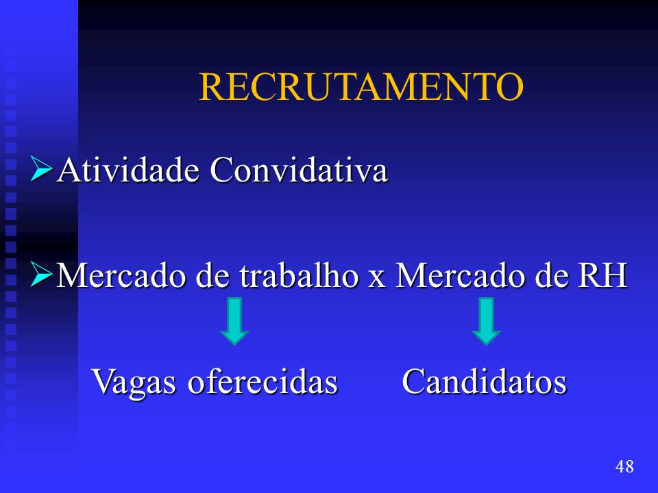 RECRUTAMENTO Atividade Convidativa Mercado de trabalho x Mercado de RH