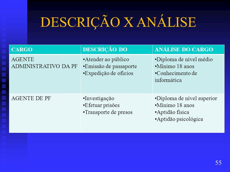 DESCRIÇÃO X ANÁLISE CARGO DESCRIÇÃO DO CARGO ANÁLISE DO CARGO