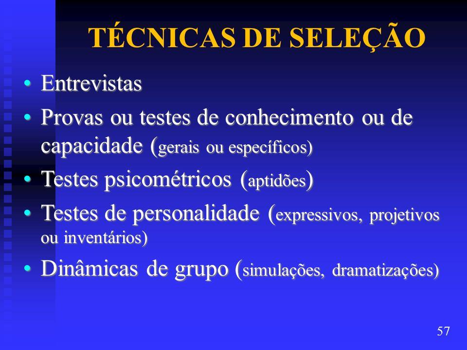 TÉCNICAS DE SELEÇÃO Entrevistas