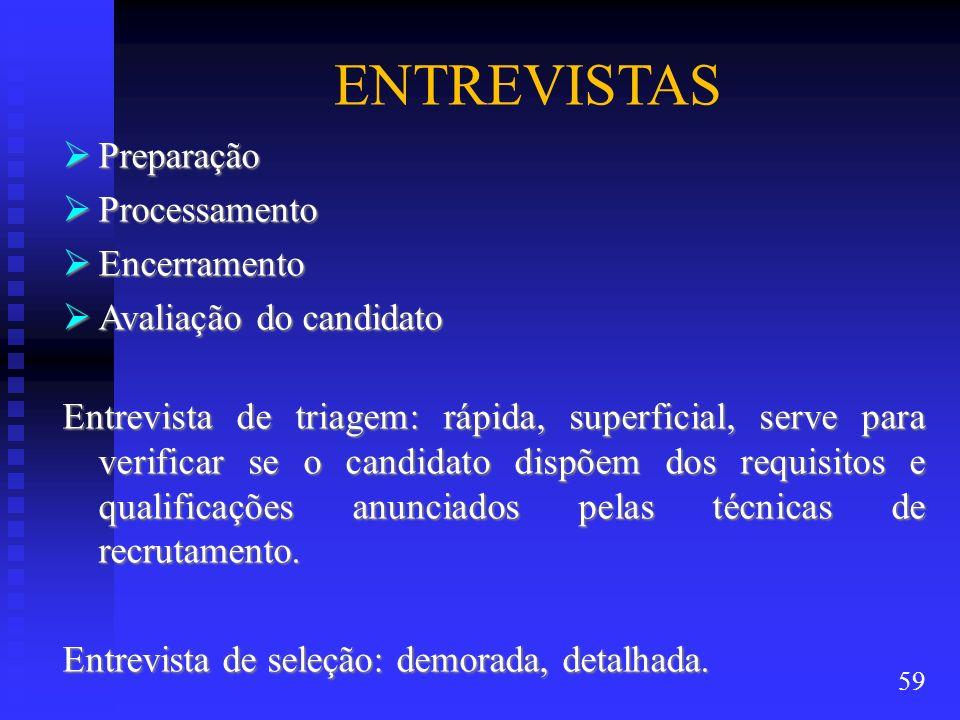 ENTREVISTAS Preparação Processamento Encerramento