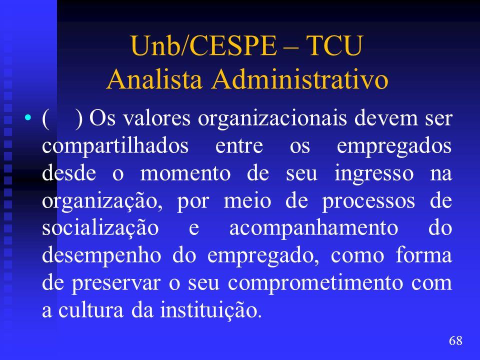 Unb/CESPE – TCU Analista Administrativo