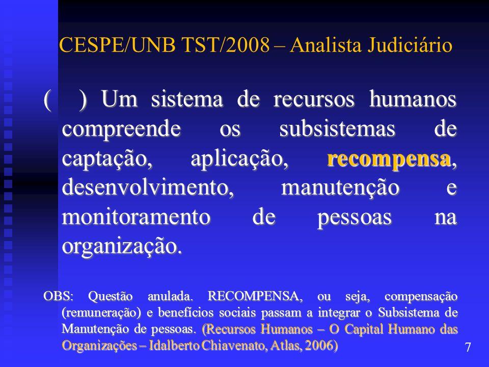 CESPE/UNB TST/2008 – Analista Judiciário