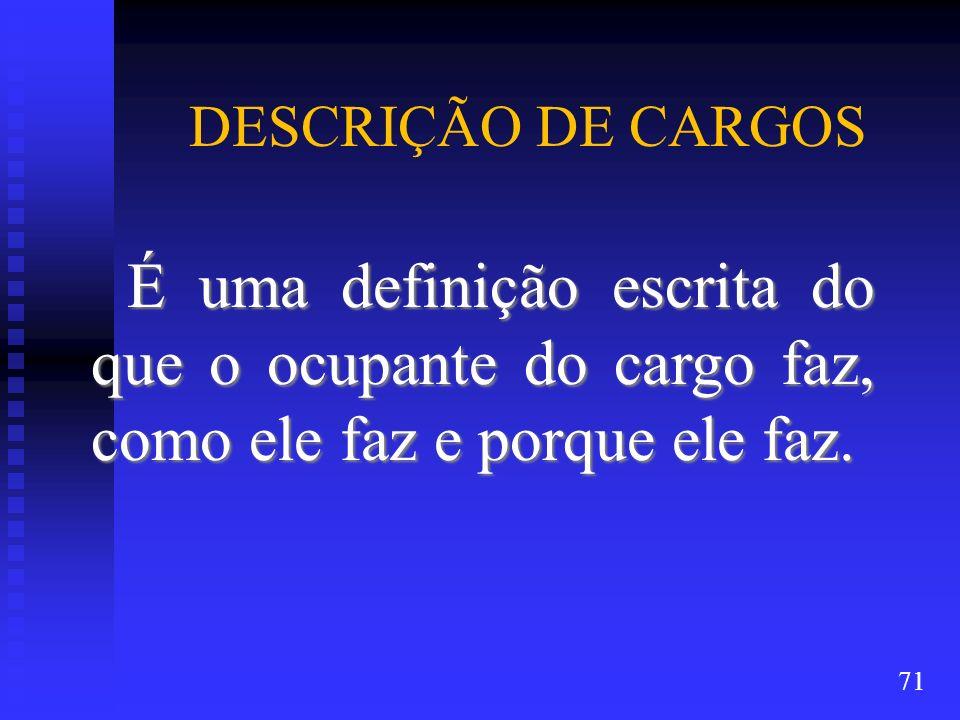 DESCRIÇÃO DE CARGOS É uma definição escrita do que o ocupante do cargo faz, como ele faz e porque ele faz.