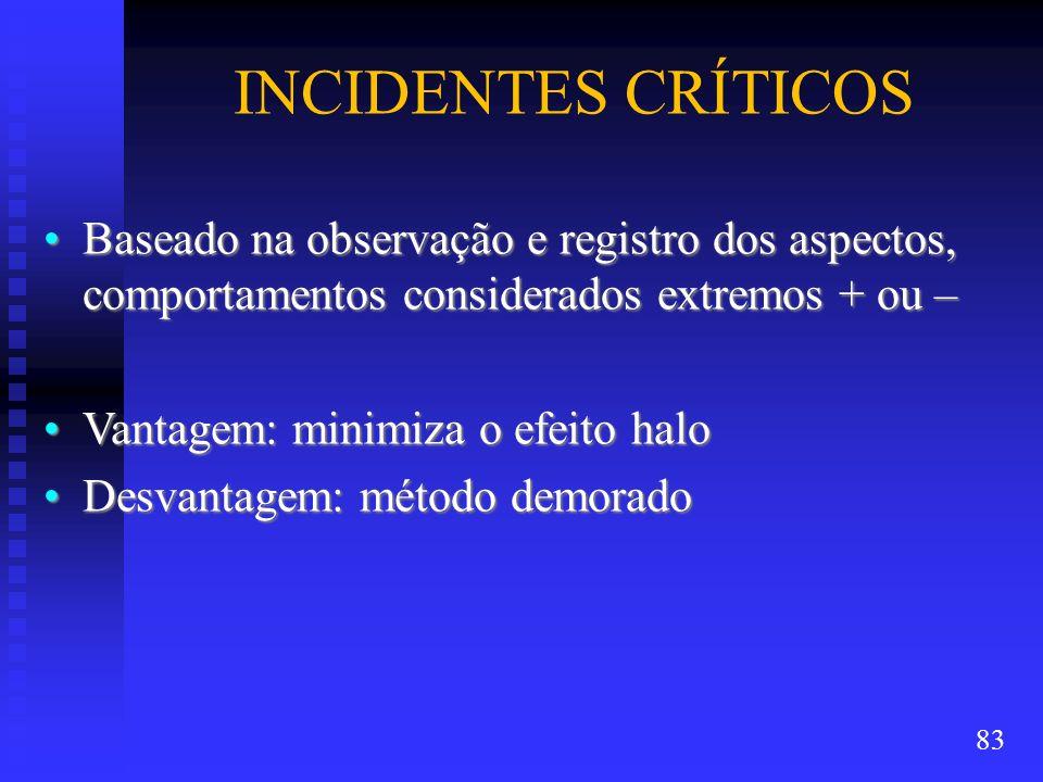 INCIDENTES CRÍTICOS Baseado na observação e registro dos aspectos, comportamentos considerados extremos + ou –