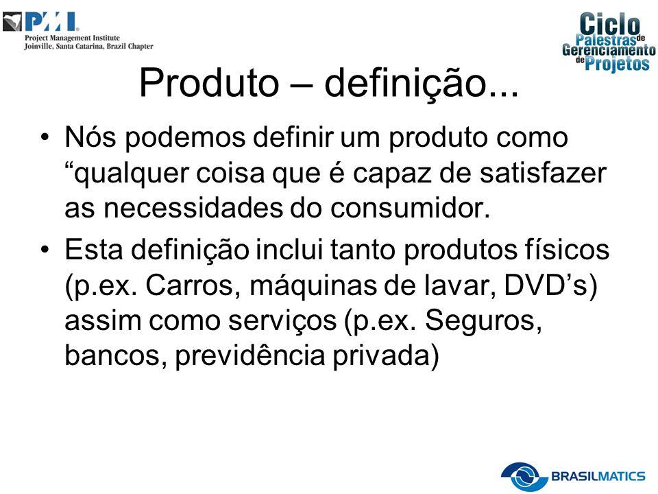 Produto – definição... Nós podemos definir um produto como qualquer coisa que é capaz de satisfazer as necessidades do consumidor.