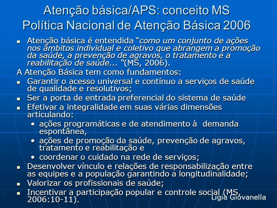 Atenção básica/APS: conceito MS Política Nacional de Atenção Básica 2006